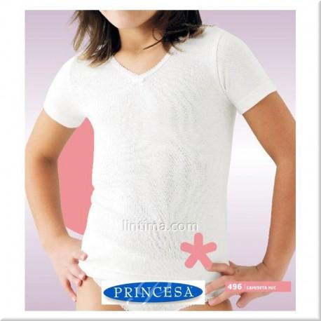 Camiseta niña manga corta cuello pico PRINCESA