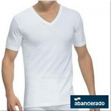 T-shirt en v-cou à manches courtes DRAPEAU