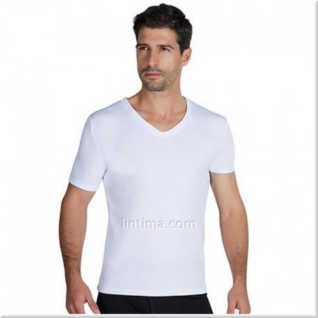 Camiseta termal hombre manga corta cuello pico YSABEL MORA